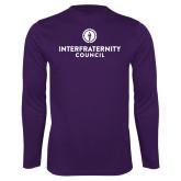 Performance Purple Longsleeve Shirt-Primary Logo Centered