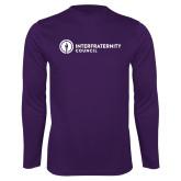 Performance Purple Longsleeve Shirt-Primary Logo Left