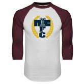 White/Maroon Raglan Baseball T Shirt-NICFC