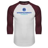 White/Maroon Raglan Baseball T Shirt-Primary Logo Centered