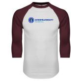 White/Maroon Raglan Baseball T Shirt-Primary Logo Left