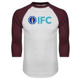 White/Maroon Raglan Baseball T Shirt-IFC