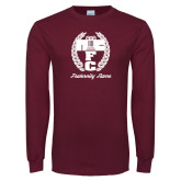 Maroon Long Sleeve T Shirt-Personalized Fraternity Name Script