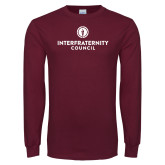 Maroon Long Sleeve T Shirt-Primary Logo Centered