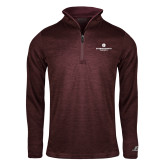 Russell Maroon Heather 1/4 Zip-Primary Logo Centered