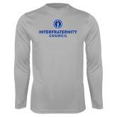 Performance Platinum Longsleeve Shirt-Primary Logo Centered
