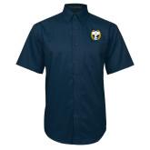 Navy Twill Button Down Short Sleeve-NICFC