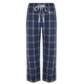 Navy/White Flannel Pajama Pant-Primary Logo Left