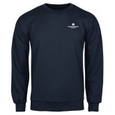 Navy Fleece Crew-Primary Logo Centered