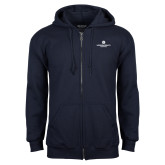 Navy Fleece Full Zip Hoodie-Primary Logo Centered