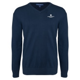 Classic Mens V Neck Navy Sweater-Primary Logo Centered