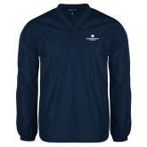 V Neck Navy Raglan Windshirt-Primary Logo Centered