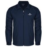 Full Zip Navy Wind Jacket-Primary Logo Centered