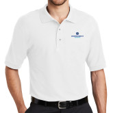 White Easycare Pique Polo-Primary Logo Centered