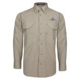 Khaki Long Sleeve Performance Fishing Shirt-Primary Logo Centered