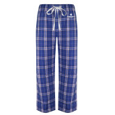 Royal/White Flannel Pajama Pant-Primary Logo Centered