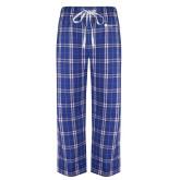 Royal/White Flannel Pajama Pant-Primary Logo Left