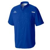 Columbia Tamiami Performance Royal Short Sleeve Shirt-Primary Logo Centered