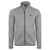 Grey Heather Fleece Jacket-Primary Logo Centered