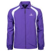 Colorblock Purple/White Wind Jacket-Primary Logo Centered