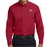 Cardinal Twill Button Down Long Sleeve-Primary Logo Centered