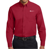Cardinal Twill Button Down Long Sleeve-Primary Logo Left