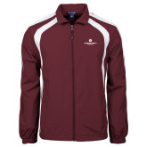 Colorblock Maroon/White Wind Jacket-Primary Logo Centered