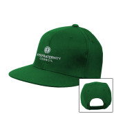 Kelly Green Flat Bill Snapback Hat-Primary Logo Centered