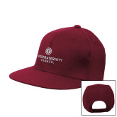 Maroon Flat Bill Snapback Hat-Primary Logo Centered