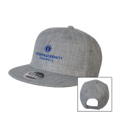 Heather Grey Wool Blend Flat Bill Snapback Hat-Primary Logo Centered