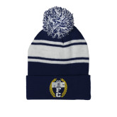Navy/White Two Tone Knit Pom Beanie w/Cuff-NICFC