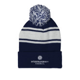 Navy/White Two Tone Knit Pom Beanie w/Cuff-Primary Logo Centered