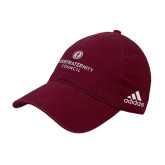 Adidas Maroon Slouch Unstructured Low Profile Hat-Primary Logo Centered