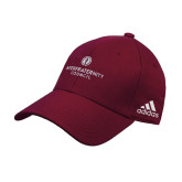 Adidas Maroon Structured Adjustable Hat-Primary Logo Centered