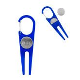 Blue Aluminum Divot Tool/Ball Marker-IFC Engraved