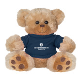 Plush Big Paw 8 1/2 inch Brown Bear w/Navy Shirt-Primary Logo Centered