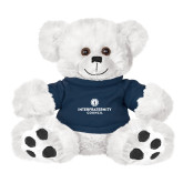 Plush Big Paw 8 1/2 inch White Bear w/Navy Shirt-Primary Logo Centered