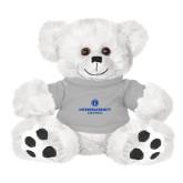 Plush Big Paw 8 1/2 inch White Bear w/Grey Shirt-Primary Logo Centered