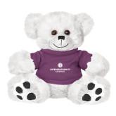 Plush Big Paw 8 1/2 inch White Bear w/Purple Shirt-Primary Logo Centered