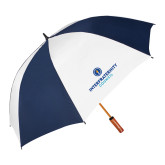 62 Inch Navy/White Vented Umbrella-Primary Logo Centered