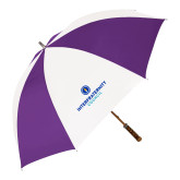 64 Inch Purple/White Umbrella-Primary Logo Centered