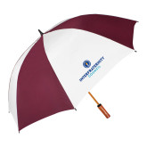 62 Inch Maroon/White Vented Umbrella-Primary Logo Centered