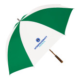 64 Inch Kelly Green/White Umbrella-Primary Logo Centered