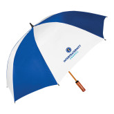 62 Inch Royal/White Vented Umbrella-Primary Logo Centered