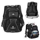 High Sierra Swerve Black Compu Backpack-Primary Logo Centered