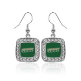 Crystal Studded Square Pendant Silver Dangle Earrings-Newbury College