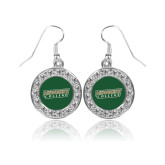 Crystal Studded Round Pendant Silver Dangle Earrings-Newbury College