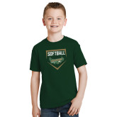 Youth Dark Green T Shirt-Softball Design