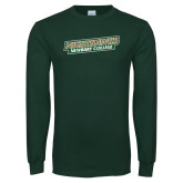 Dark Green Long Sleeve T Shirt-Nighthawks Wordmark