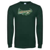 Dark Green Long Sleeve T Shirt-Nighthawks Logo